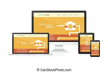 Responsive web design vector - computer, laptop, tablet and smartphone.