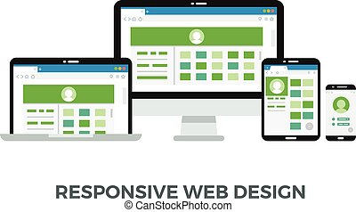 Responsive web design vector concept. Website page on screens