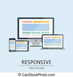 Vector illustration of flat concept responsive web design on blue background