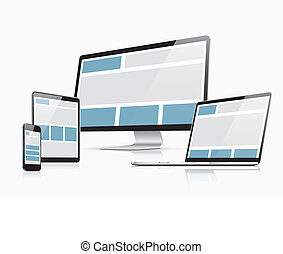 Responsive web design vector template with laptop, tablet,...
