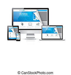 Responsive web design vector with r