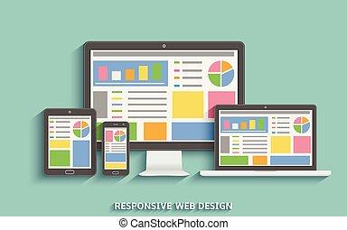 Responsive web design. Web design technology devices. Laptop, desktop computer, tablet and mobile phone