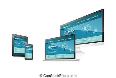 Responsive web design with different devices.