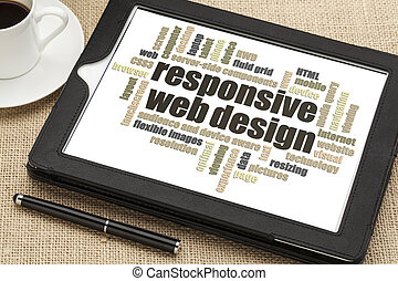 responsive web design word cloud on a digital tablet with a...