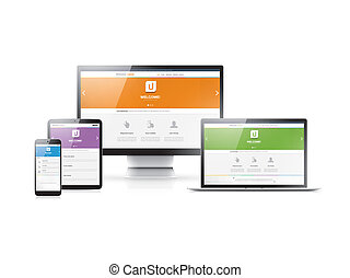 Responsive web development in flat website styles in four...
