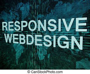 Responsive Webdesign text concept on green digital world map...