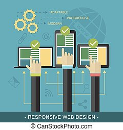 Responsive website design vector illustration with technological devices, icons and three hands.