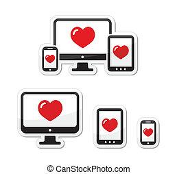 responsivo, desenho, monitor, -, ícones
