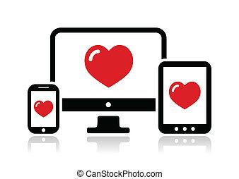 responsivo, site web, desenho, ícone