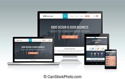 responsivo, site web, desenho