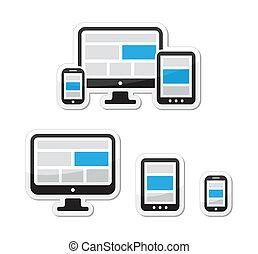 responsivo, teia, projeto fixo, ícones