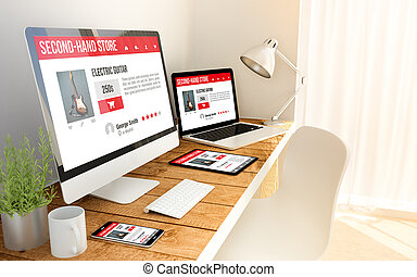 Resposive web in laptop, computer, tablet and smart phone