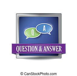 resposta, botão, pergunta, ilustração