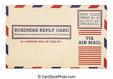 resposta, correio aéreo, estados, negócio, unidas, cartão, vindima