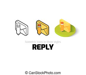 resposta, diferente, estilo, ícone