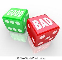 respuesta, decidir, dados, bueno, rollo, malo, afortunado, ...