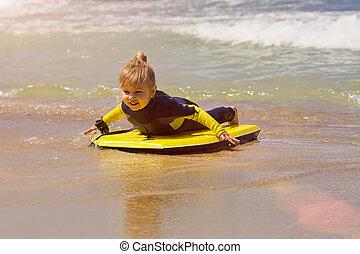 ressac, bodyboard, jeune, surfeur, mer, promenades, girl, plage, long