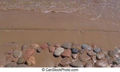 ressac, close-up., rivage, sablonneux, pierres, day.,...
