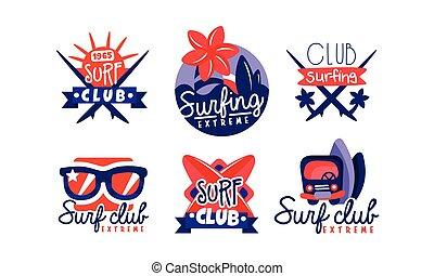 ressac, emblèmes, vecteur, extrême, insignes, logo, collection, retro, conception, illustration, club, clair, surfer