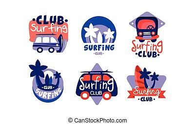 ressac, emblèmes, vecteur, illustration, insignes, logo, collection, conception, club, clair, surfer
