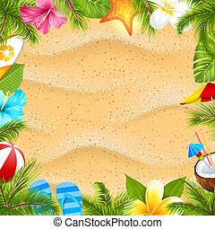 ressac, fleur, frangipanier, hibiscus, texture, feuilles, sable plage, paume, affiche, planche, etoile mer, balle, créatif