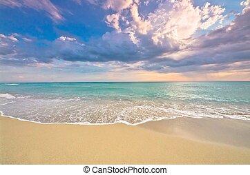ressac, plage, idyllique, coucher soleil