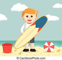 ressac, plage, planche, homme affaires