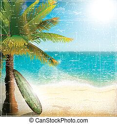 ressac, plage, planche, océan