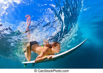 ressac, plongeon, actif, bikini, planche, action, girl
