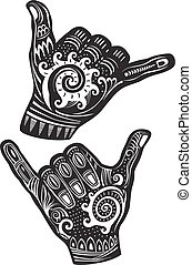 ressac, shaka, signe main
