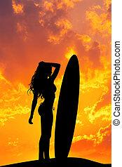 ressac, silhouette, girl, coucher soleil