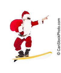 ressac, surfer, claus, planche, santa, heureux