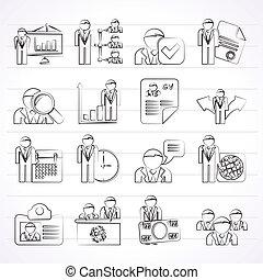 ressource, emploi, humain, icônes
