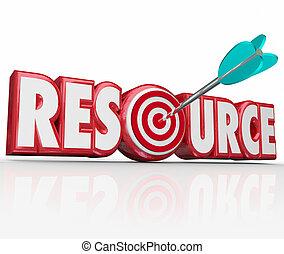 ressource, mot, flèche, dans, cible, information, collection, techniques, expe