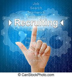 ressourcen, geschaeftswelt, rekrutierung, menschliche , begriff, wort