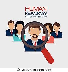 ressources, vecteur, illustration., humain