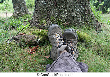 Rest after hiking in the forest