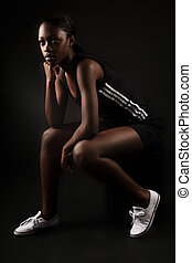 rest after workout - fitness African American Woman