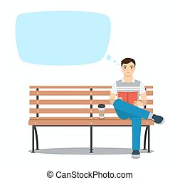Young man reading book on the bench. Vector illustration. Speech bubbles