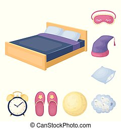 Rest and sleep cartoon icons in set collection for design. Accessories and comfort vector symbol stock web illustration.