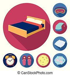 Rest and sleep flat icons in set collection for design. Accessories and comfort vector symbol stock web illustration.