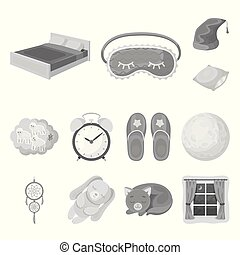 Rest and sleep monochrome icons in set collection for design. Accessories and comfort vector symbol stock web illustration.