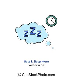 Rest and sleep more icon. Sleeping problems sign. Sleeping disorder, nightmare, sleeplessness pictogram. Medical, healthcare, healthy lifestyle concept. Editable vector illustration in bright colors.