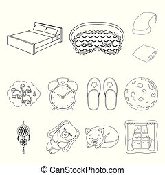 Rest and sleep outline icons in set collection for design. Accessories and comfort vector symbol stock web illustration.