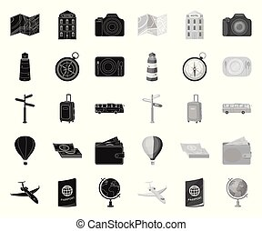 Rest and travel black. mono icons in set collection for design. Transport, tourism vector symbol stock web illustration.