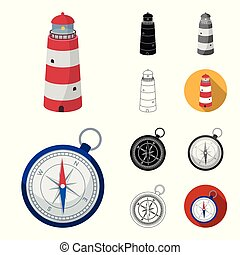 Rest and travel cartoon, black, flat, monochrome, outline icons in set collection for design. Transport, tourism vector symbol stock web illustration.