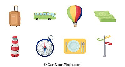 Rest and travel icons in set collection for design. Transport, tourism vector symbol stock web illustration.