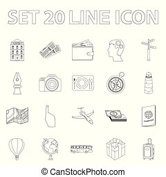 Rest and travel outline icons in set collection for design. Transport, tourism vector symbol stock web illustration.