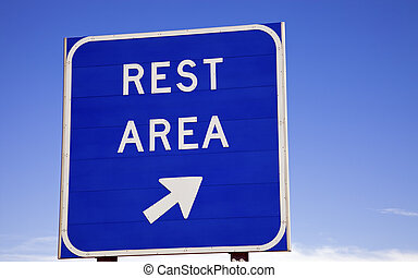 Rest area sign on the highway.