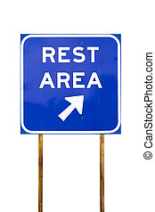 Rest Area sign with arrow